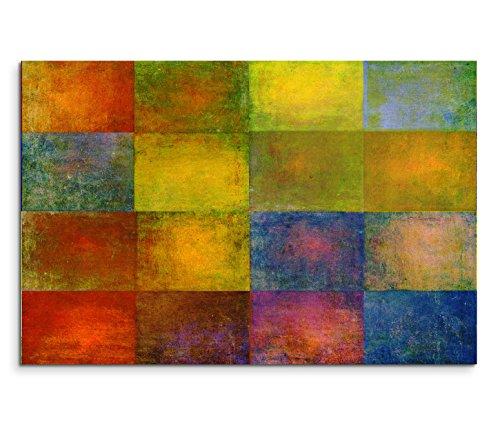 Paul Sinus Art 120x80cm Leinwandbild auf Keilrahmen Geometrie Quadrate gelb blau rot grün braun Wandbild auf Leinwand als Panorama