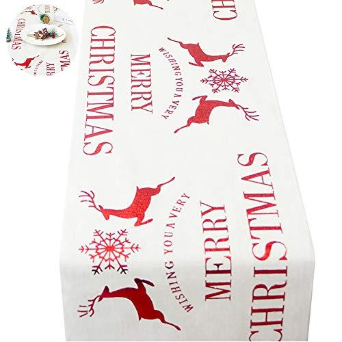 """NiceButy Schneeflocke Tischläufer Familie Weihnachten Tischwäsche Weihnachtsabendessen-Tischdekoration Tisch Linie Dekoration Weihnachten Rentiere und Schneeflocken 11"""" x 106"""" Zoll"""