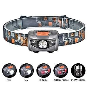 Linkax LED Headlamp Headlight Head Torch Super Bright 120 Lumens LED Head Lamp Flash Light 4 Modes Helmet Light for Running Camping Hiking Fishing 3 AAA Batteries Included