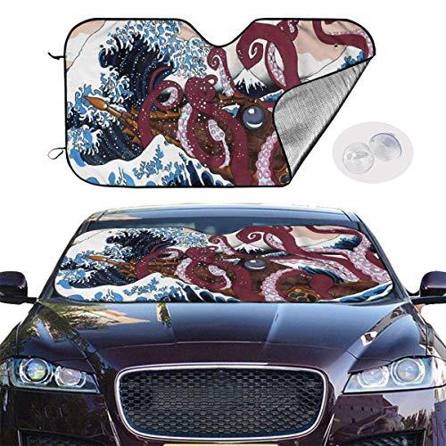 Preisvergleich Produktbild VTIUA Sonnenschutz Auto, Sonnenblende Purple Octopus Wave Portable Universal Sunshade Keeps Vehicle Cooler for Car, SUV, Trucks, Minivan Automotive and Most Vehicle Sunshade (51 X 27 in)