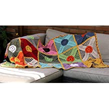 Manta de ganchillo multicolor 180 x 90