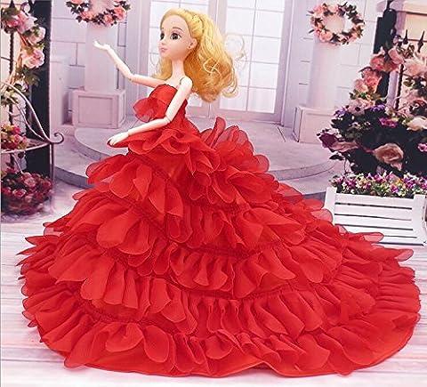 Youvinson Handmade Brautkleider mit neuem Design für Barbie-Puppen (Rot)