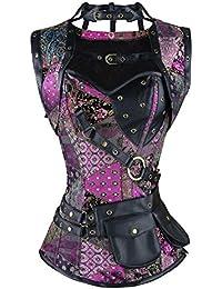 BSLINGERIE® Sexy Femmes Violet Floral Patchwork Overbust Corset