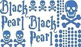 Autoaufkleber Sticker Aufkleber Set für Auto Schriftzug Black Pearl Totenköpfe (555 gletscherblau)