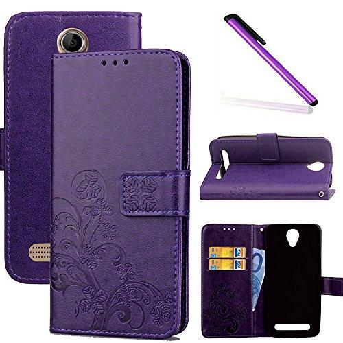 COTDINFOR Acer Liquid Z6 Hülle für Mädchen Elegant Retro Premium PU Lederhülle Handy Tasche im Bookstyle mit Magnet Standfunktion Schutz Etui für Acer Liquid Z6 Clover Purple SD.