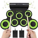 Yissvic Elektronische Trommel 7 Pad E-Drum mit Lautsprecher Faltbar Schlagzeug für Kinder Weihnachtsgeschenk Grün