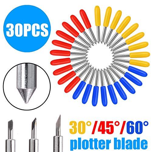 MXBIN 30pcs / set Schneideplotter Klinge hohe Härte Wolframkarbid Vinyl Cutter-Messer verfeinern Klingen 30 Grad 45 Grad 60 Grad Hardware-Reparaturwerkzeuge