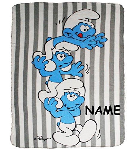 Unbekannt Fleecedecke -  die Schlümpfe / Schlumpf  - incl. Namen - 120 cm * 150 cm - Decke aus Fleece Kuscheldecke / für Mädchen & Jungen - Kinder Plaid Kinderdecke -..
