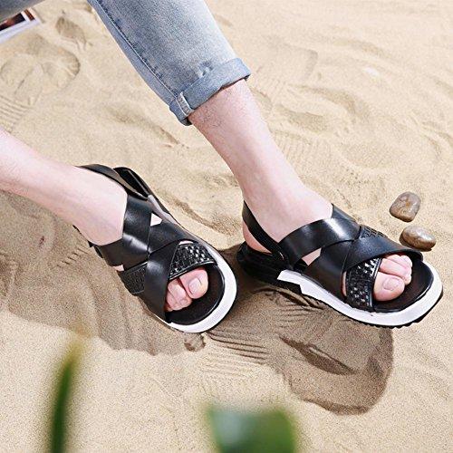 Mens Thick Soles Sandalen echtes Leder Wasser Schuhe für den Sommer Mode und bequem zu tragen vt16802 black
