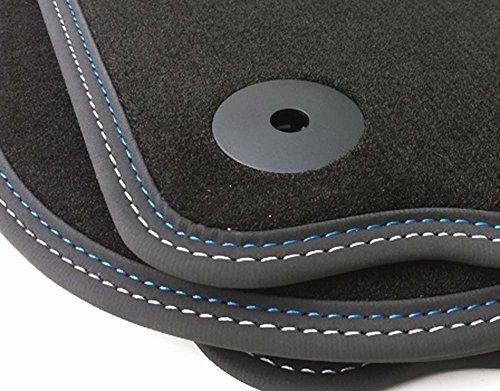 Fußmatten Golf 5 6 (Premium Velours) Automatten Premium Qualität 4-teilig Doppelnaht Blau/Weiß