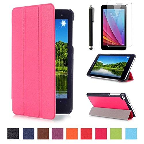 Hot-pad Zurück (Huawei MediaPad T1 7.0 Hülle Etui Case - Ultradünn Schutzhülle Tasche für Huawei Mediapad T1 7.0 Zoll Tablet Tablet SmartShell Cover mit Ständer + Displayschutzfolien und Stylus,Hot Rosa)