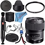 Sigma 35mm F/1.4 DG HSM Art Lens For Nikon DSLR Cameras #340306 + 67mm UV Filter + Lens Pen Cleaner + Fibercloth + Lens Capkeeper + Deluxe Cleaning Kit + Flexible Tripod Bundle
