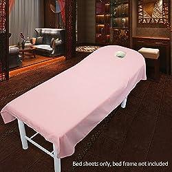 Sábana bajera ajustable de esponja de lujo, tratamiento de masaje de belleza, sábanas suaves, sábanas de salón de cosméticos, spa, tratamiento de masaje, sábanas de mesa con agujero, Pink 120cmx190cm