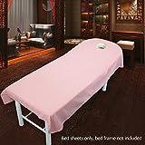 Sabana bajera para camilla de masaje, de UXELY, para tratamientos de belleza y masajes, salón, spa, con agujero, Pink 120cmx190cm