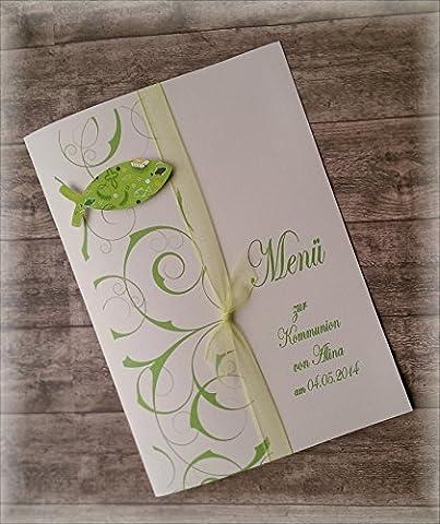 Menü Menükarte Speisekarte Kommunion Konfirmation Firmung Taufe Fische christliche Symbole apfelgrün hellgrün grün kiwi