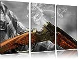Chasse pistolet après cuisson B & W détails3 pièces toile image 120x80 image sur toile, XXL énormes photos complètement encadrées avec civière, imprimé Art mural avec cadre gänstiger comme une peinture ou une peinture à l'huile, pas poster ou une affiche