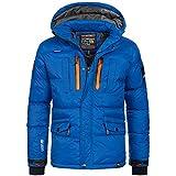 Geographical Norway Herren Jacke Winterjacke Parka warm gefüttert Ski Outdoor Kapuze Basilboli S-XXXL 4-Farben, Größe:L, Farbe:Blau