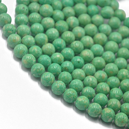 ELECTROPRIME 8mm Light Green Riverstone Fossil Round Loose Beads Strand 15.5 inch