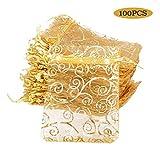 BUONDAC (8*11cm) 100pz Sacchetti Organza Colorato Bustine Buste Sacchettini per Confetti Gioielli Matrimonio Comunione Battesimo Festa ( Oro )