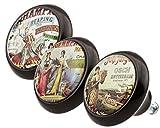 Concepteur Boutons de Meuble Céramique Assortiment 0068 Vintage Nostalgie Annonces 3 pièces - Surface en forme de dôme moderne en optique glas brillante - commode, tiroir, armoire, poignées, porcelaine...