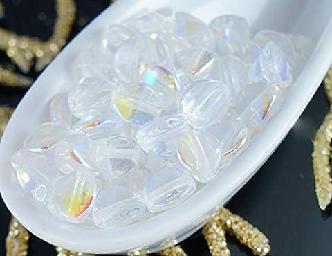 50pcs Crystal AB Pincée de Verre tchèque Entretoise Bicone à Facettes Perles 5mm
