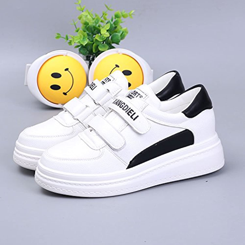 GTVERNH Fondo Grueso Velcro Casual Shoes Leather Alta Interior Zapatos De Mujer Harajuku Superficial Boca Estudiante...