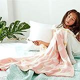 Aha yo Baby Decke Alle Baumwolle Überwurf Decke Angenehm Weiches Klimaanlage Decke Freizeit Sofa Geeignet Bett Sommer Wendbar Swan. Rose