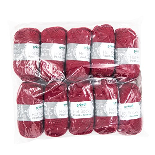 Gründl 3409-14 Hot Socks Pearl Uni, Avantage Pack de 10 à Tricoter 50 g de Laine pour Chaussettes, 75% Laine (Mérinos Superwash), 20% Polyamide, 5% Cachemire, Cerise, 40 x 37 x 11 cm