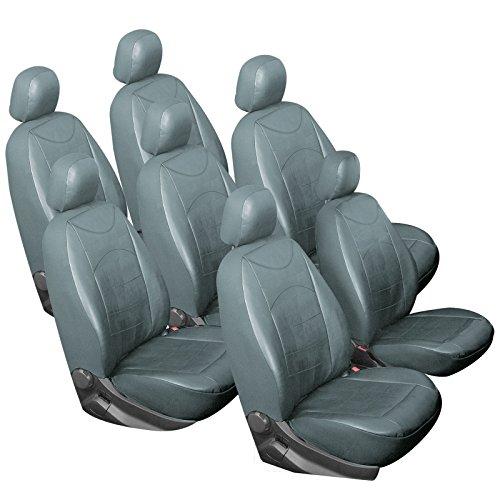 WOLTU AS7235gr-7 Set Completo di Coprisedili Auto 7 Posti Seat Cover per Macchina Ecopelle PU Colore Grigio