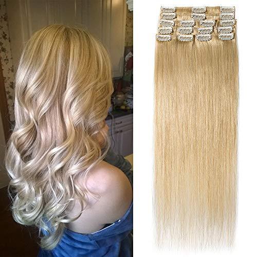 """TESS Extensions Echthaar Clip in Mittelblond #24 Remy Haar Extensions guenstig Haarverlängerung 18 Clips 8 Tressen Lang Glatt, 24""""(60cm)-80g"""