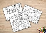Tischsets I Platzsets - Ausmalbilder für Kinder - 'Pirat, Elfe & Meerjungfrau' - 12 Stück in hochwertiger Aufbewahrungsmappe