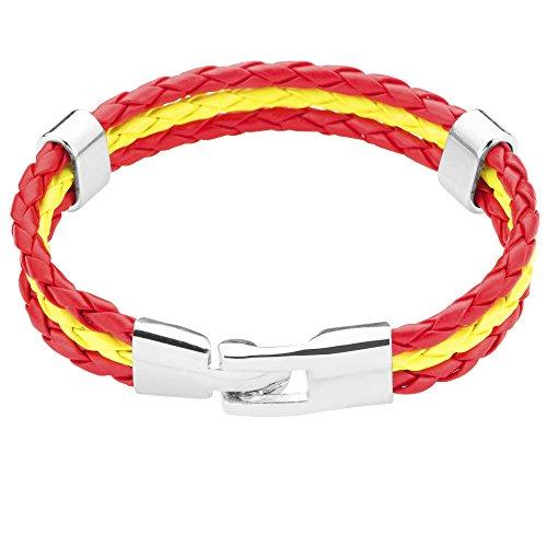 Taffstyle® Stylisches Armband PU Lederarmband Kordelarmband Fanartikel Fussball Weltmeisterschaft WM & EM Europameisterschaft 2016 Länder Style geflochten - Spanien - 19cm