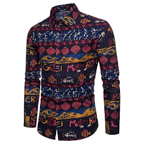 Dwevkeful Herren Shirt Freizeithemd Langarmshirts MäNner Ethnischen Wind Revers Button Casual Langarm Top Farbe Hemden Sweatshirt PersöNlichkeit Knit Wind Jacke