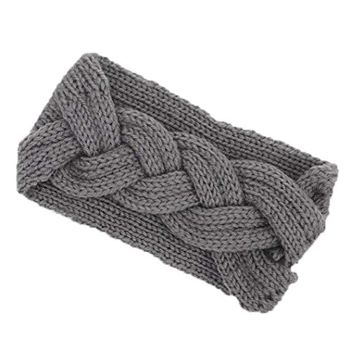 Xmiral Damen Haarband Gestrickte Stirnbänder Winter Warm Head Wrap Reine Farbe Breite Haarschmuck (Grün)
