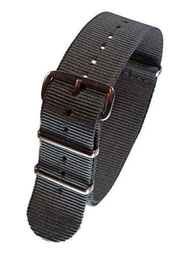 Nylon Uhrenarmband Edelstahl Dornschließe 16-24mm Textil Armband Strap Band Grau 16mm