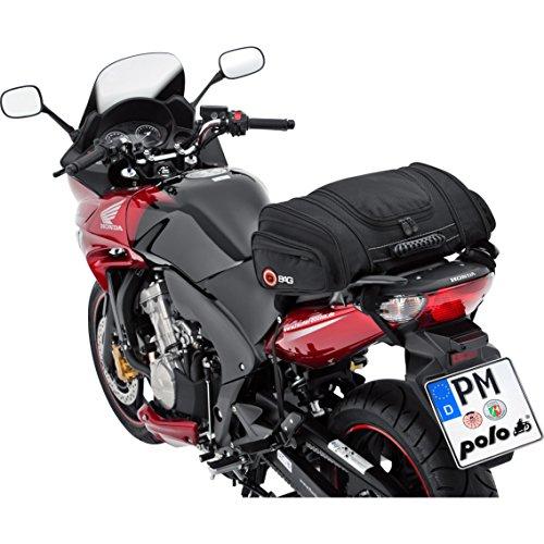 Motorrad Hecktasche QBag Hecktasche Motorrad Hecktasche 05 Motorradgepäck für Soziussitz/Gepäckträger 22-30 Liter Stauraum leichtes Be-/Entladen inkl. Regenhaube schwarz