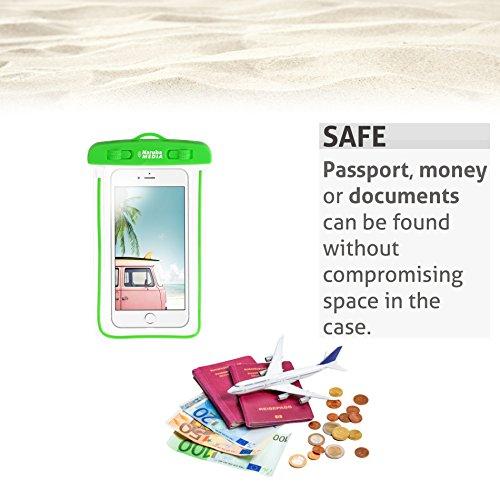Naruba Media Wasserdichte IPX8 Hülle, Staub- und Wasserdichte Tasche für Dokumente, Kreditkarten, Smartphones bis 6 Zoll für|Strand-Aktivitäten| Wasser-Sport| Joggen| Kajaken usw. (Rosa) Grün