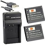 DSTE KLIC-7001 Li-ion Batterie (2-Pack) et chargeur USB costume pour Kodak M1063M1073IS M320M340M341M753M763M853