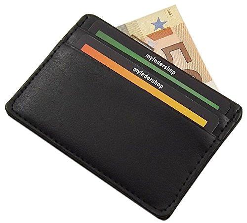 Tarjetero para tarjeta de crédito en el color de negro * 2 compartimentos para tarjeta de crédito * Y 1 gran compartimento central, por ejemplo, para las facturas, recibos, billetes u otras tarjetas bancarias * Adicional diseñado plana, incluso con 4...