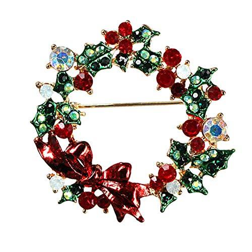 Defantia Frauen Brosche Weihnachten Thema Glocke Elch Diamant Kreative Pin Kostüm Zubehör Roter - Bogen Weihnachten Kostüm