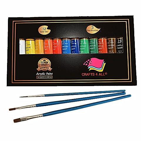 Acrylfarbe 12 Set von Crafts 4 All Für Papier,Leinwand,Holz,Keramik,Stoff &
