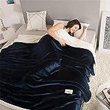 MIAO Decken werfen Winter verdicken Quilt Coral Fleece dunkelblau Kinder warme Doppelschicht Nickerchen Decke (größe : 180x200cm(71