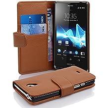 Cadorabo - Book Style Hülle für Sony Xperia T - Case Cover Schutzhülle Etui Tasche mit Kartenfach in COGNAC-BRAUN