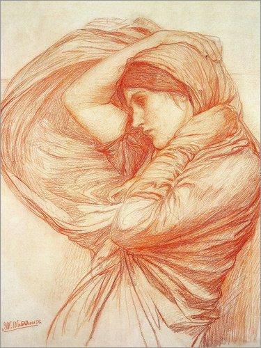 Poster 90 x 120 cm: Studie für Boreas von John William Waterhouse / Bridgeman Images - hochwertiger Kunstdruck, neues Kunstposter