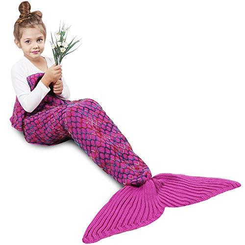 Meerjungfrau Decken, Amyhomie Handgemachte Meerjungfrau Strickmuster Schlafsack, weiche Strick Meerjungfrau Schwanz Schlafsack für Erwachsene, alle Jahreszeiten Schlafsack (Kinder, Rainbow) -