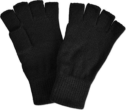 normani Fingerlose Halbfinger - Handschuhe ohne Finger in Schwarz Farbe Schwarz Größe L