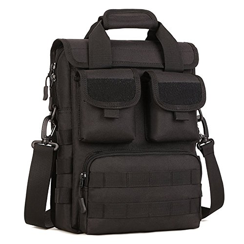550 Notebook (Maxmer Tactical Military Schultertasche Taktische Handtasche Molle Multifunktionstasche für 12 inch Laptop, 550ml Getränkeflaschen, A4 Magazin usw(Schwarz))