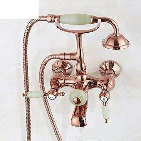Douche robinet ensemble/cuivre antique douche/vintage robinetterie de baignoire autoportante-B