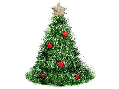 Weihnachtsbaum | 40 cm hoher Tannenbaum Weihnachtshut mit Stern und Christbaumkugeln | Unigröße für Erwachsene - verrückte Nikolausmütze zu Weihnachten, perfekt zur Weihnachtsfeier | von ALSINO | Modell: 134 (Weihnachtsbaum Kostüme Für Erwachsene)