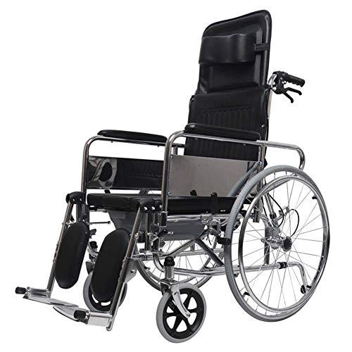 BYGenMai Rollstühle Handbuch, Faltbarer Voller Liegender Toiletten-Stuhl Mit Handbremsen Anhebendes Pedal Bequeme Rückenlehne, Unterstützung 440 Lbs